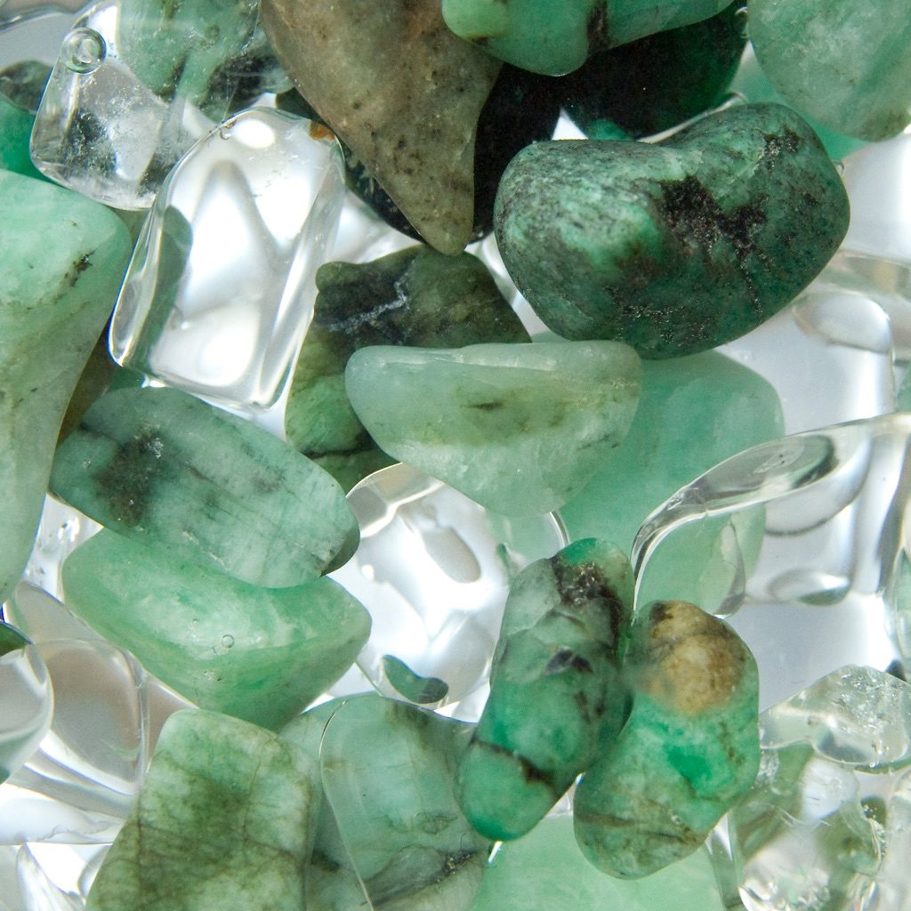emeralds and quartz close-up